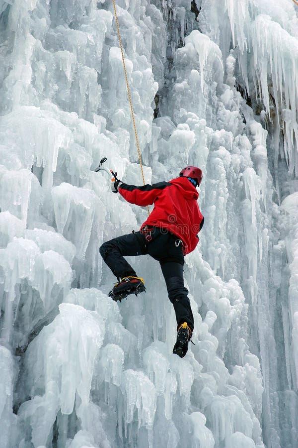 Montanhista de gelo fotografia de stock