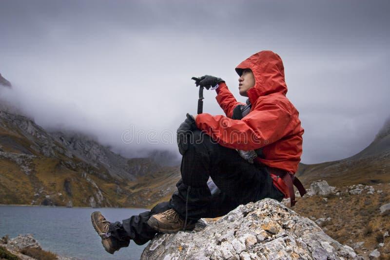 Montanhista de montanha fotografia de stock royalty free