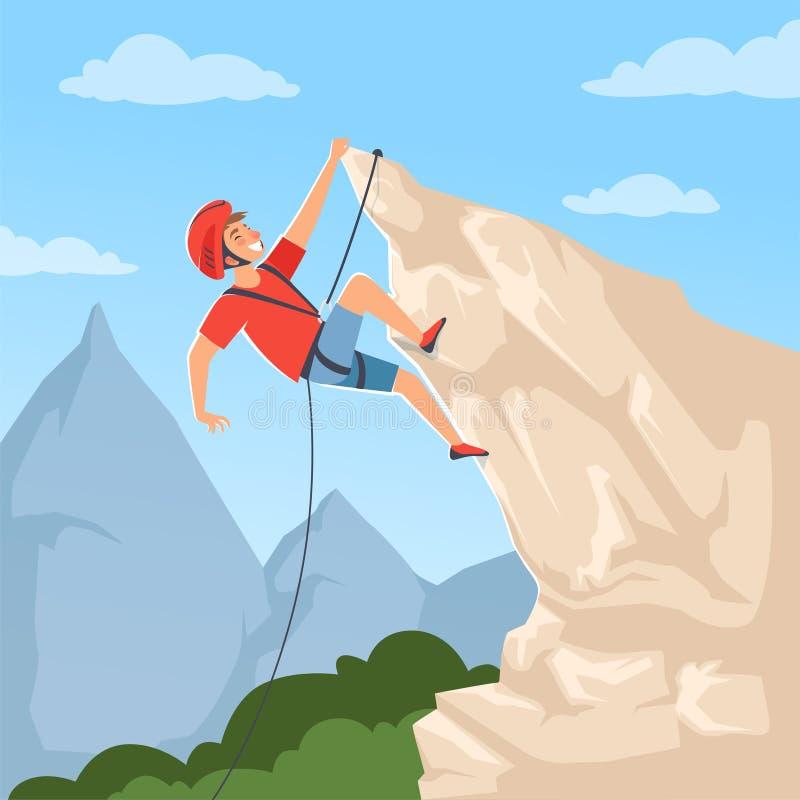 Montanhista de montanha em montes O cartaz com alpinismo masculino explora a neve que os hights da montanha rochosa conseguem a a ilustração stock