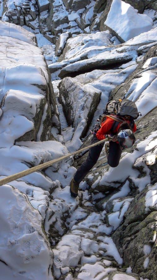 Montanhista de rocha fêmea que rappelling nos cumes suíços foto de stock