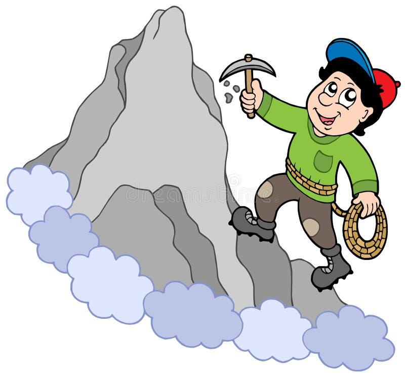 Montanhista de rocha na montanha ilustração do vetor