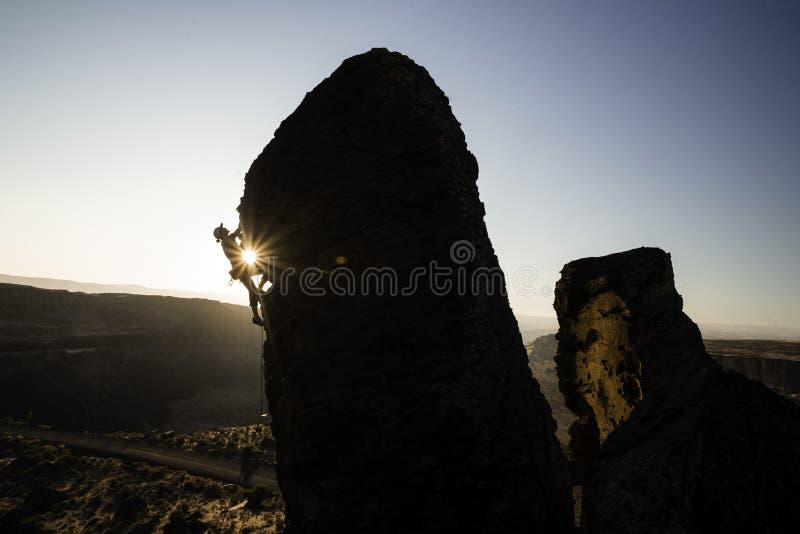 Montanhista de rocha no francês Coulee imagem de stock