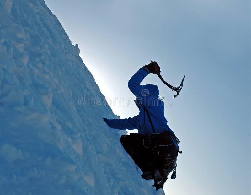 Montanhista do gelo imagem de stock