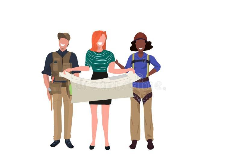 Montanhista industrial do arquiteto fêmea e indústria da construção civil masculina do projeto da filtração do coordenador do mod ilustração do vetor
