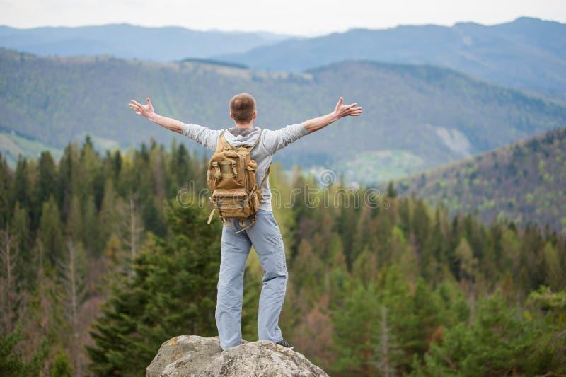Montanhista masculino com a trouxa marrom no pico da rocha imagens de stock royalty free