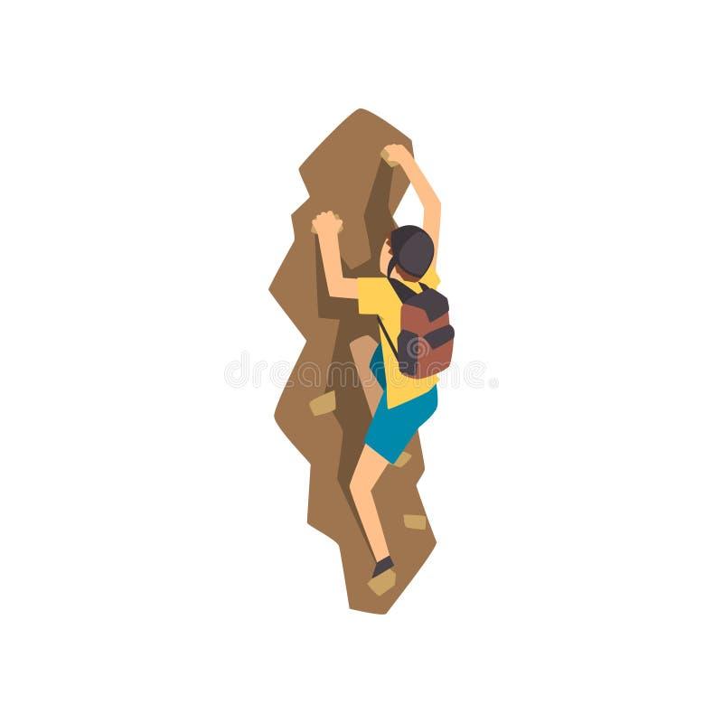 Montanhista masculino na parede de escalada da rocha do capacete protetor ou penhasco montanhoso, esporte extremo e conceito da a ilustração do vetor