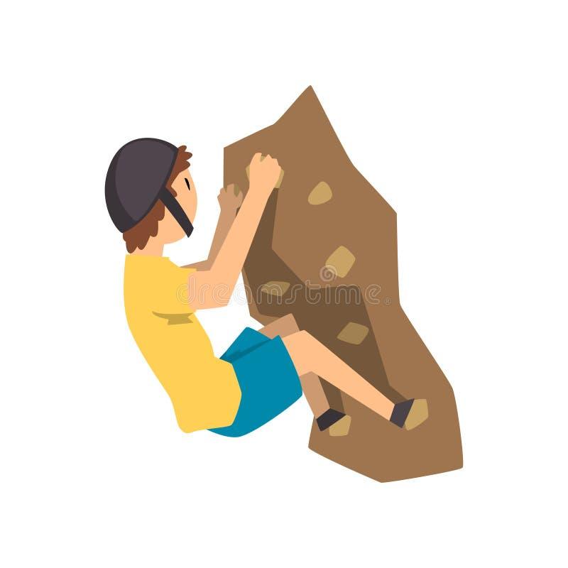 Montanhista novo na montanha de escalada da rocha do capacete protetor, no esporte extremo e no vetor do conceito da atividade de ilustração royalty free