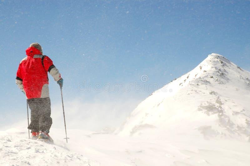Montanhista que enfrenta o vento e a neve na cimeira da montanha fotos de stock