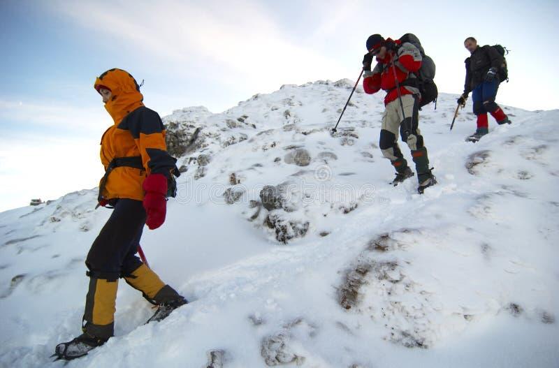 Montanhistas da montanha que descem a montanha.   fotografia de stock royalty free