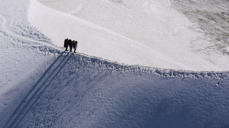 Montanhistas de Mont Blanc fotografia de stock