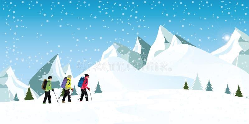 Montanhistas de montanha com trouxas que andam através das nevadas fortes ilustração royalty free