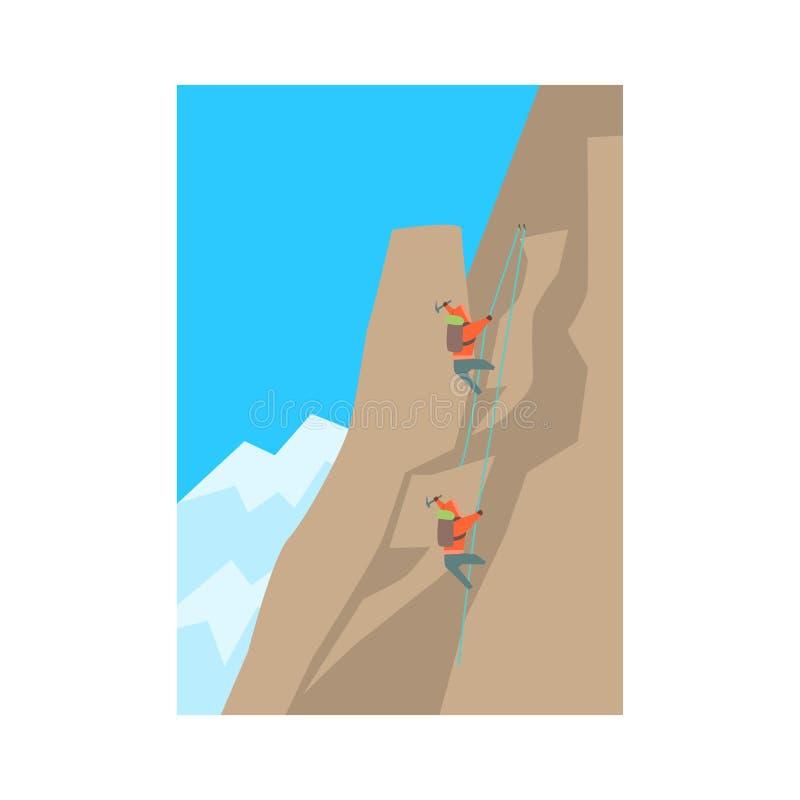 Montanhistas de montanha que escalam um pico ilustração stock