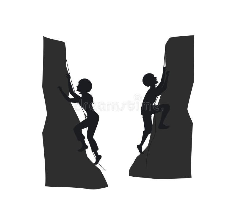Montanhistas de rocha fêmeas e masculinos da montanha ilustração stock