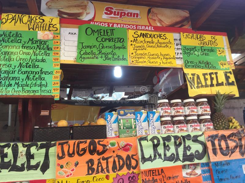 Montanita, Ecuador 5-7-2019: Food stand selling crepes and drinks, typical view in Asia and south america stock image
