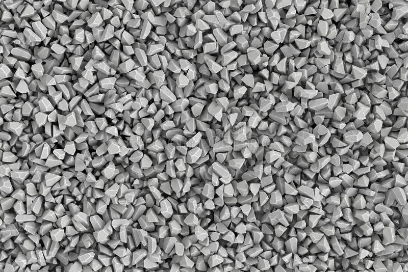 Montant considérable de rendu de pierres se situant ensemble dans le désordre, vue supérieure illustration stock