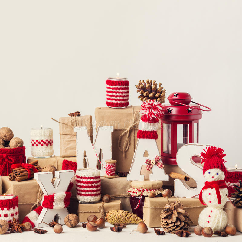 Montant de vintage Carte de Noël Décorations de Noël photo libre de droits