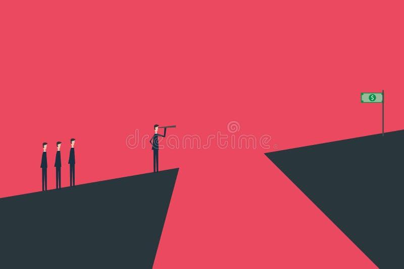 Montante minimalista Finanzas del negocio Concepto acertado de la visión con el icono del hombre de negocios y del telescopio, di libre illustration