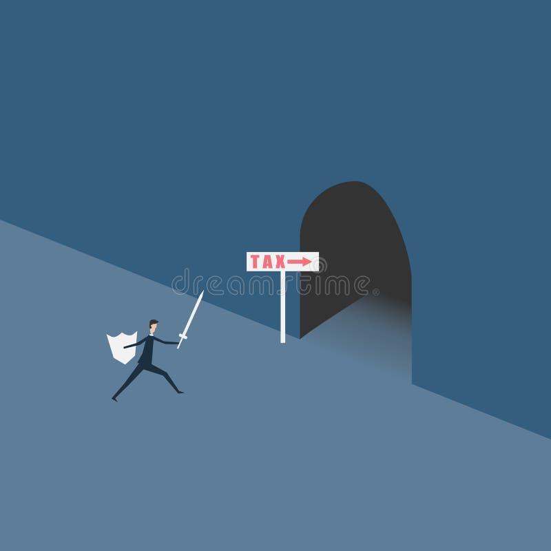 Montante minimalista Finanzas del negocio lucha del hombre de negocios con IMPUESTO stock de ilustración