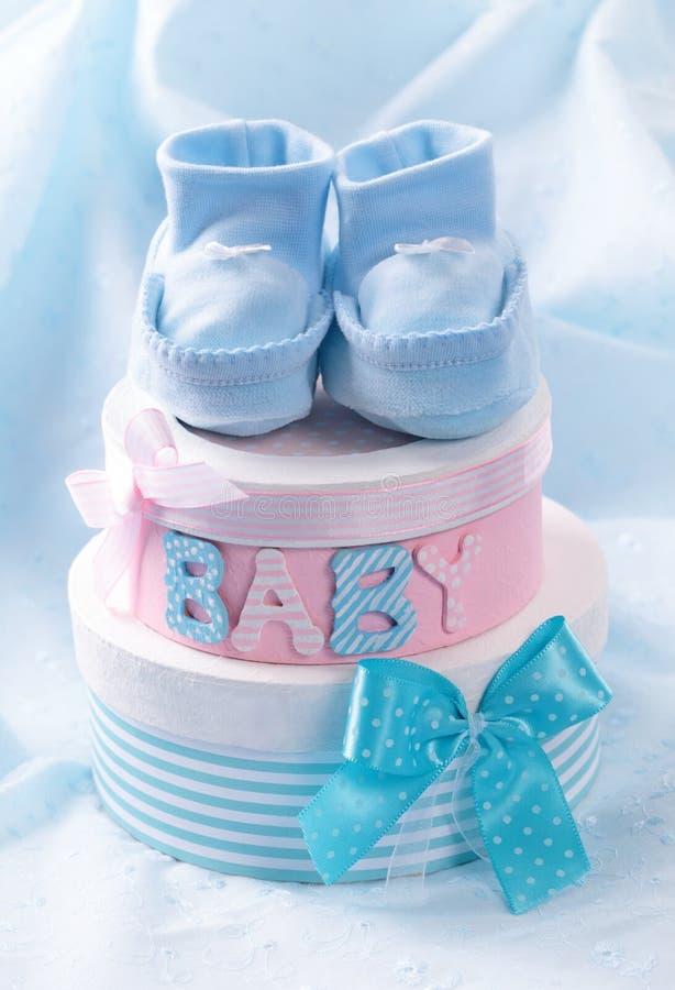 Montantes do bebê e caixas de presente pequenos fotografia de stock