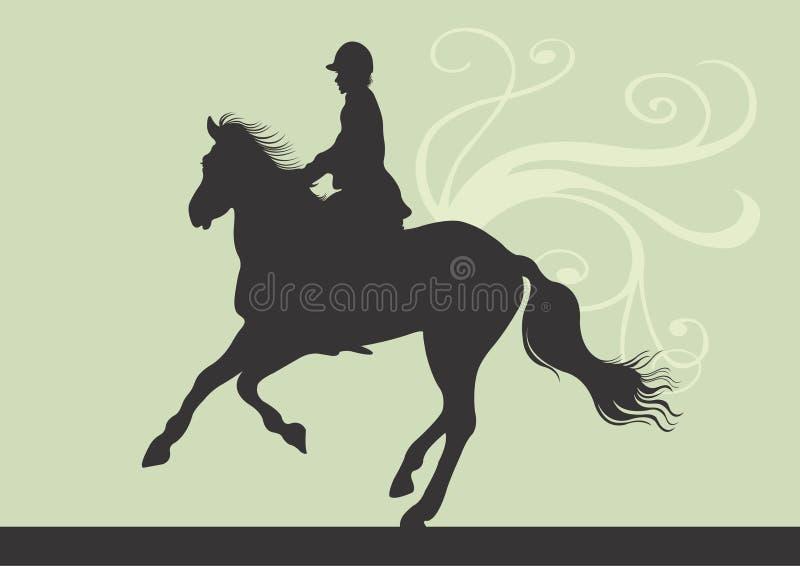 Montar a caballo ilustración del vector