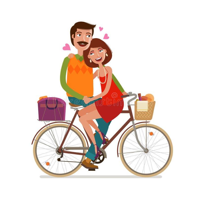 Montar a caballo cariñoso de los pares en comida campestre en bicicleta Ilustración del vector de la historieta ilustración del vector