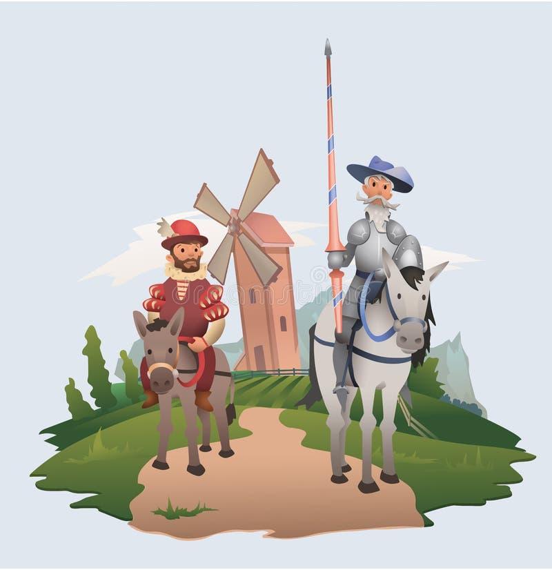 Montar a caballo de Don Quixote y de Sancho Panza en fondo del molino de viento Caracteres del libro Ejemplo plano del vector stock de ilustración