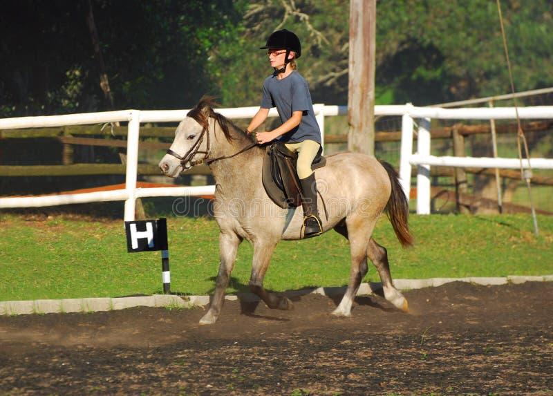Montar a caballo de la niña foto de archivo