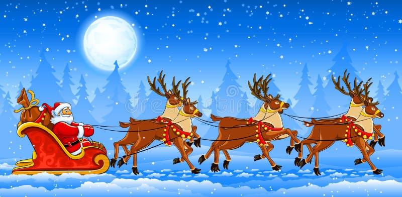 Montar a caballo de Papá Noel de la Navidad en trineo ilustración del vector