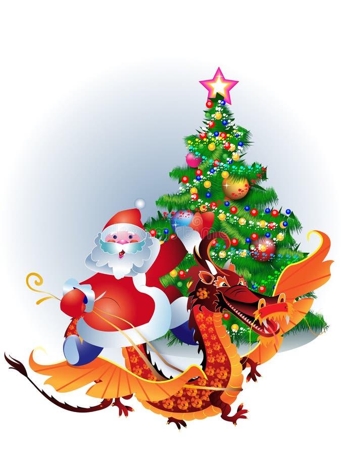 Montar a caballo de Papá Noel en un dragón stock de ilustración