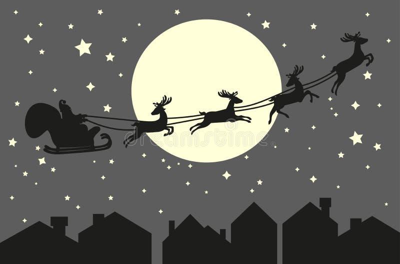 Montar a caballo de Papá Noel en un trineo ilustración del vector