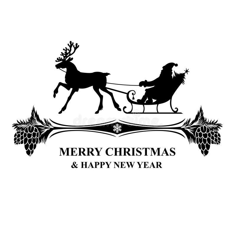 Montar a caballo de Papá Noel de la silueta en icono del saludo del trineo del reno libre illustration