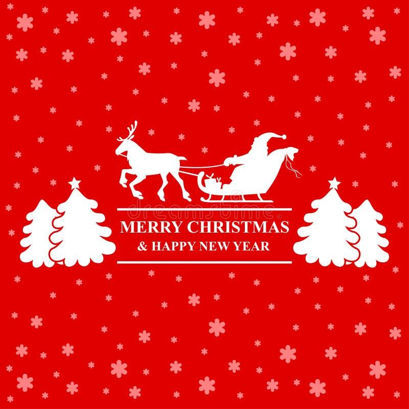 Montar a caballo de Papá Noel de la silueta en tarjeta de felicitación del trineo del reno stock de ilustración