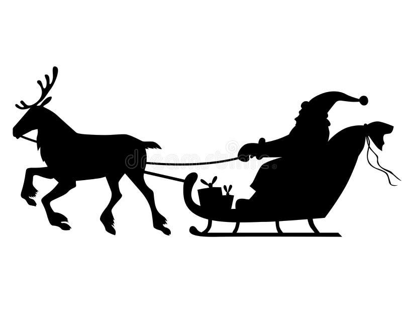 Montar a caballo de Pap? Noel de la silueta en trineo del reno stock de ilustración