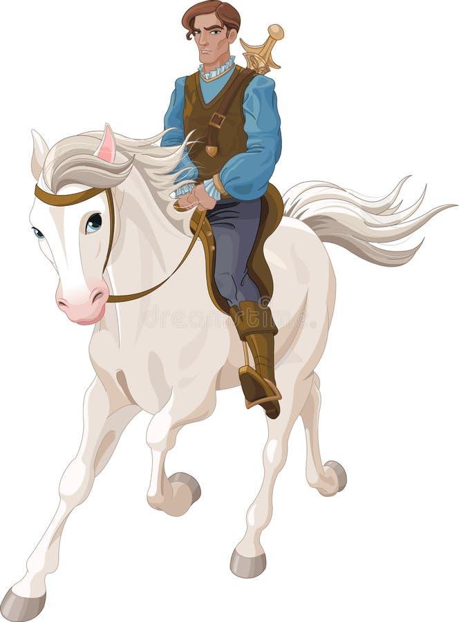 Montar a caballo de príncipe Charming en un caballo libre illustration
