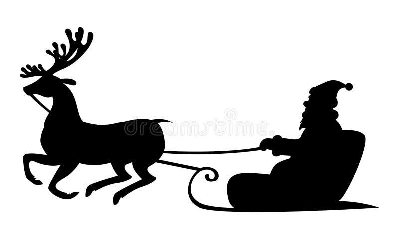 Montar a caballo de Santa Claus de la silueta de la Navidad en trineo del reno ilustración del vector