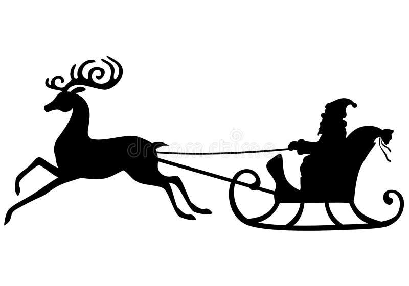 Montar a caballo de Santa Claus de la silueta en un trineo de los ciervos ilustración del vector