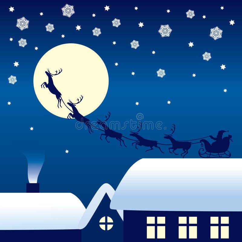 Montar a caballo de Santa Claus en un trineo del reno ilustración del vector