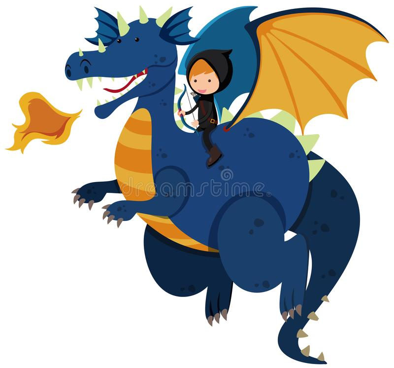 Montar a caballo del cazador en dragón azul ilustración del vector