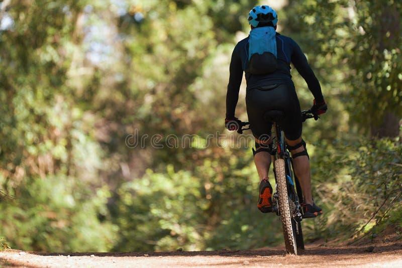 Montar a caballo del hombre el biking de montaña en la bici en verano foto de archivo