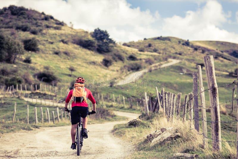 Montar a caballo del motorista de la montaña en la bici en paisaje inspirador imágenes de archivo libres de regalías