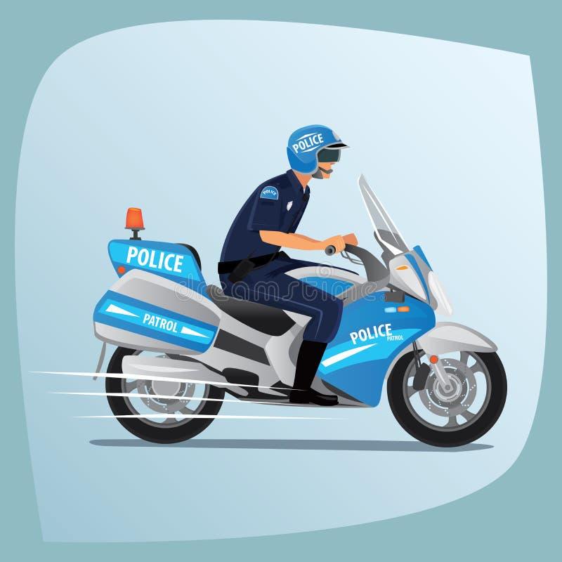 Montar a caballo del oficial de policía o del policía en la motocicleta ilustración del vector