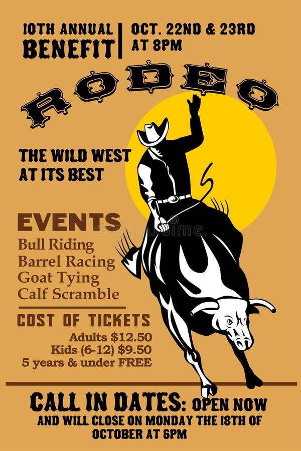 Montar a caballo del toro del vaquero del rodeo stock de ilustración