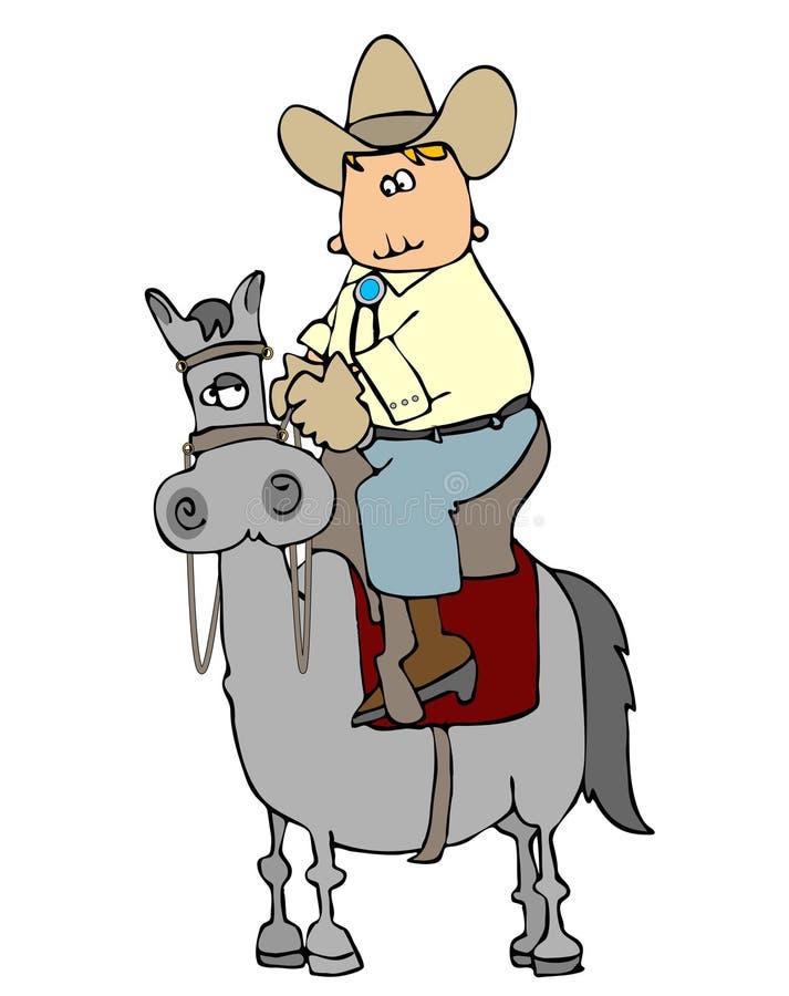 Montar a caballo del vaquero alto ilustración del vector