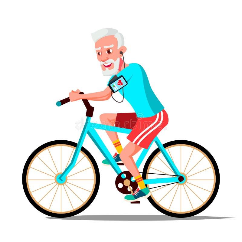Montar a caballo del viejo hombre en vector de la bicicleta Forma de vida sana Bicicletas Actividad del deporte al aire libre Ilu libre illustration