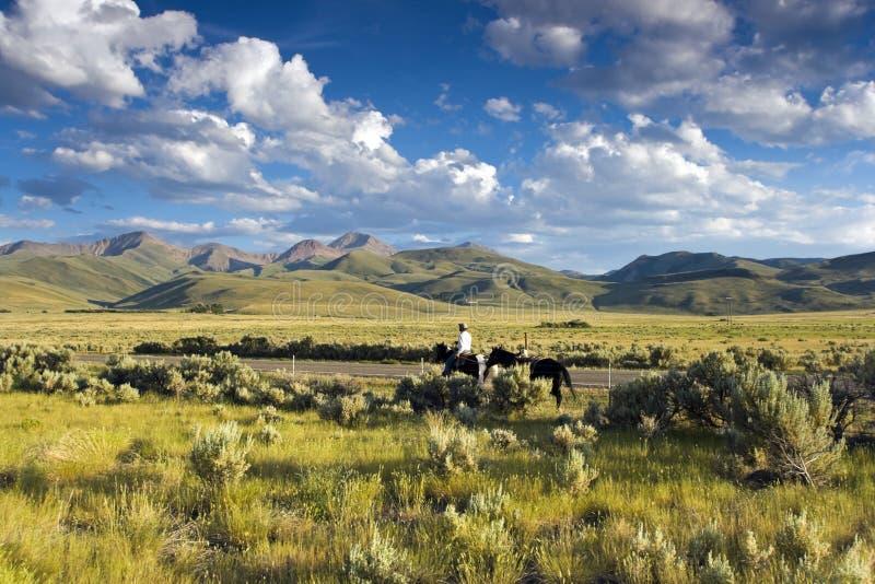 Montar a caballo en Idaho foto de archivo