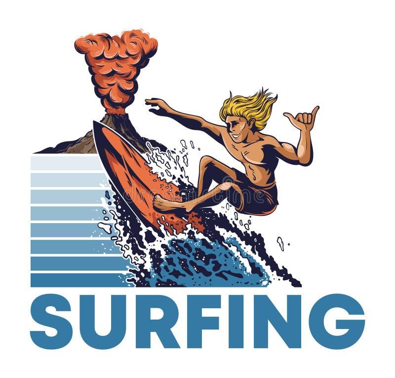 Montar a caballo extremo de la persona que practica surf del hombre en ola oceánica grande ilustración del vector