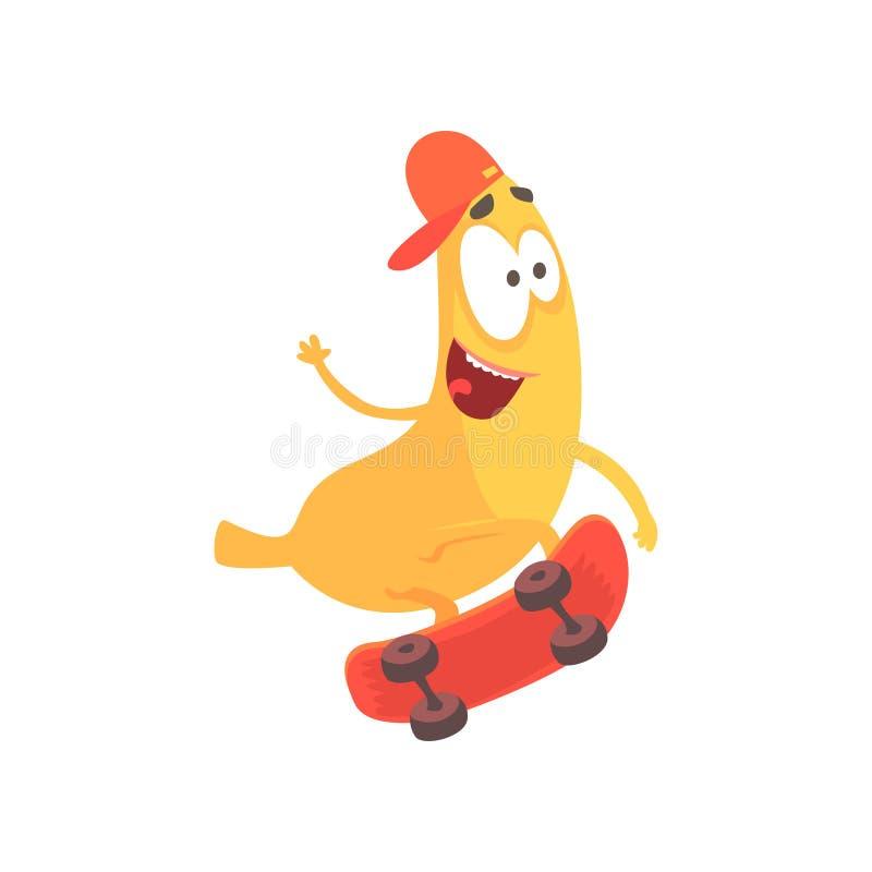Montar a caballo feliz lindo del plátano en el monopatín, ejemplo divertido del vector del carácter de la fruta de la historieta ilustración del vector