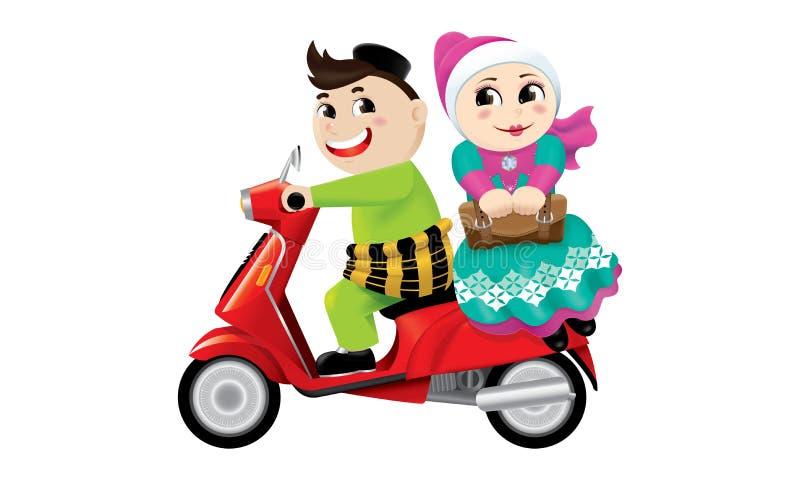 Montar a caballo musulmán del muchacho y de la muchacha en una moto junto Aislado libre illustration