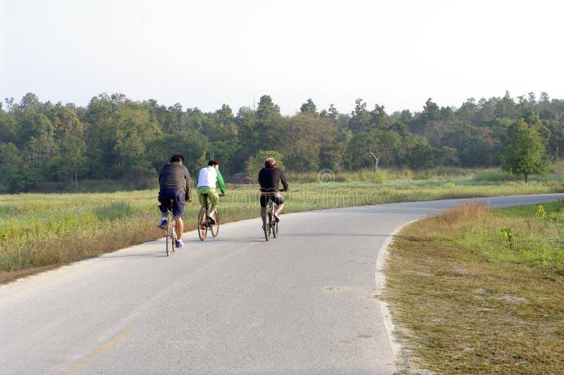 Montar una bici en el camino fotos de archivo libres de regalías