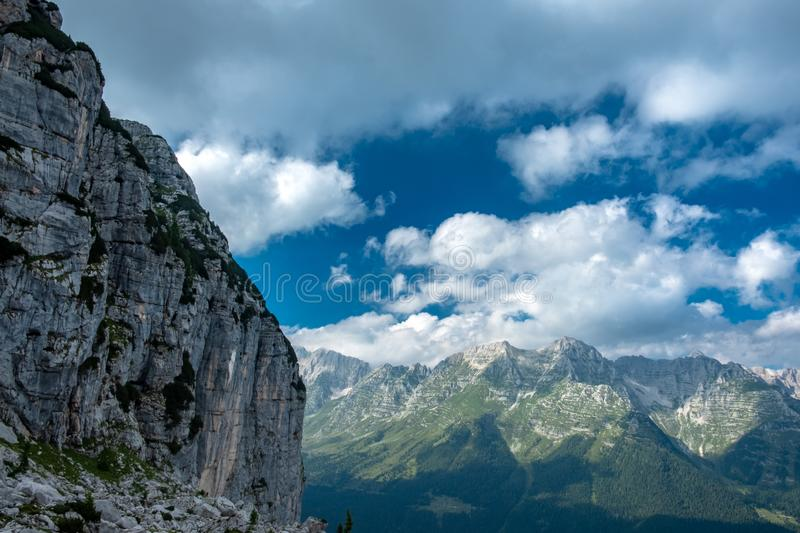 The Montasio group in the Julian Alps. A beautiful summer day in the Julian Alps in Friuli Venezia-Giulia, Italy stock images